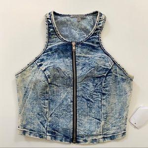 Charlotte Russe Acid Wash Denim Zipper Front Vest